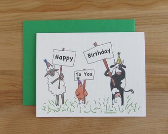 "Silly Farm Animals ""Happy Birthday To You"" Spring / Summer Birthdays - other animal colors and seasons available"