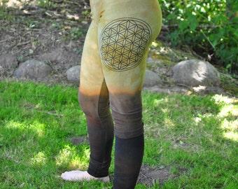 LAST PAIR Womens Yoga Pants, Yoga Leggings, Womens Festival Pants, Flower of Life, Boho Hippie Pants, Bamboo Fleece Legging