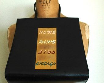 Unusual Vintage Designer Leather Handbag with Charming Global Destinations - Get Your Passport Ready! - SALE