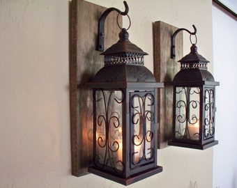 Lantern pair wall decor (2), wall sconces, housewarming gift, bathroom decor, wrought iron hook, rustic wood boards
