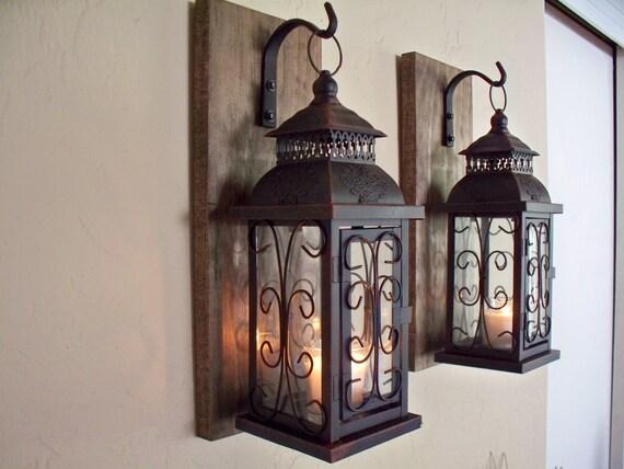 Nice Lantern Pair Wall Decor 2 Wall Sconces Housewarming Gift