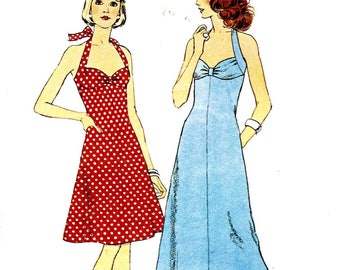 Style 4637 Halter neck dress bikini style bodice flared skirt Size 12 cut and complete 1970s