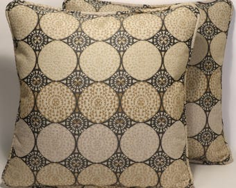 "2 Mid Century Modern Throw Pillows, Decorative Pillows,Contemporary,Modern Decor,2 18"" Waverly Chrysanthemums BlackTan Throw Pillows &Forms"