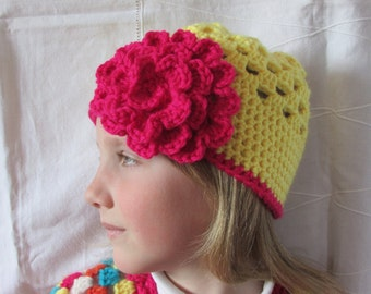 Girls Crocheted Hat - Spring Hat - Yellow hat with Flower - Granny Square Hat