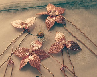 12 Rose gold leaf hairpins,Greek goddess hair accessory, woodland wedding,boho bride hairpins,rustic wedding, festival jewelry autumn bride,