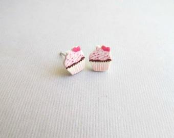 Heart Cupcake Stud Earrings,
