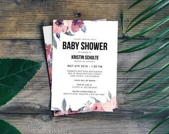 Bridal Shower Invitation, Printable Floral Invitation, Blush Shower Invite, Feminine Shower Invite, Modern Invite Shower, DIGITAL Invite