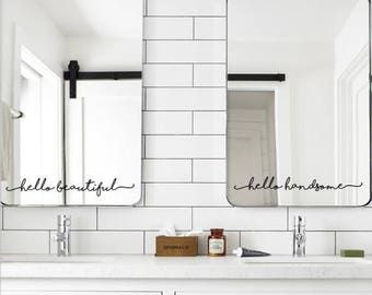 His and Hers. Hello Beautiful. Hello Handsome. Double Vanity. Bathroom Mirror. Decal Sticker