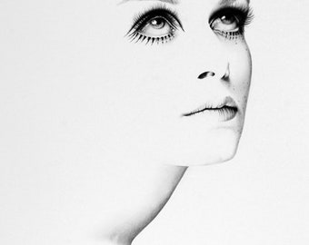 Twiggy Minimalism Original Pencil Drawing Fine Art Portrait