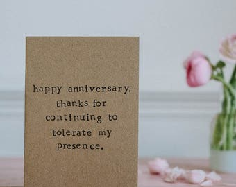 Funny/ Unromantic Anniversary Card - Tolerate - 100% Recycled Card