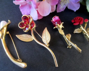 Flower Pins * Lot Of Four Pins * Vintage Classic Jewelry