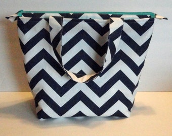 Extra Large Lunch Bag, Insulated, Womens Lunch Bag, Made to Order, Zip Closure, Choose Your Colors