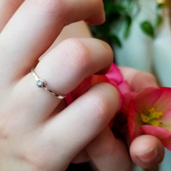 Salt and Pepper Diamond Ring, Modern Engagement, Grey Natural Diamond, Antique Pepper Diamond, Boho, Alternative Bride, Dainty, Galaxy