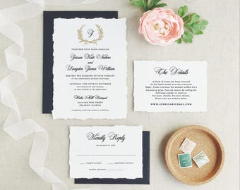 Wedding Invitation Template, Printable Wreath Wedding Invitation, Classic Invitations | Edit in Word or Pages