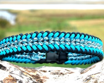 Custom Wide Sanctified Paracord Dog Collar, Choose Your Colors & Your Closure Type, Strong Dog Collar Paracord Thick Collar Braided Collar