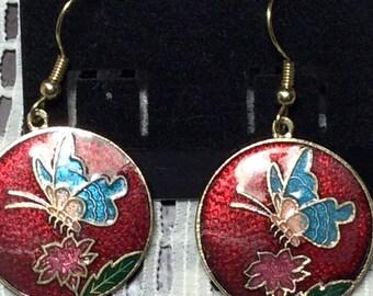 Vintage Circular Cloisonné Butterfly Earrings