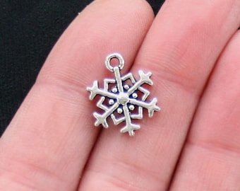 10 Snowflake Charms Antique  Silver Tone 2 Sided - SC2893