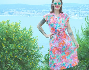 Dress Vintage 70 of 80's made in France multicolor flowers