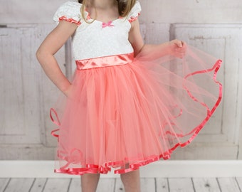 Coral dress, flower girl dress, peach and white  flower girl, size 2/3t, vintage flower girl dress,  tutu dress, flower girl dress tutu SALE