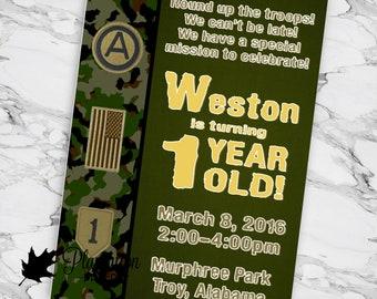 Military Army Birthday Party Invitation Camo Green