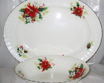 Royal Albert - Poinsettia - Meat Tray and Vegetable Bowl