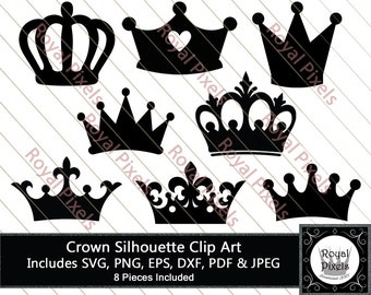 Crown Silhouette Clip Art Set, Royal Crown Clip Art, Crown SVG, 8 Piece, 7 inches, Instant Download, Printable