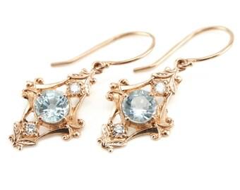 Blue Topaz and Diamond Drop Earrings, The Viola Earrings by Elizabeth Henry, Bridal Earrings T5M1FU-P