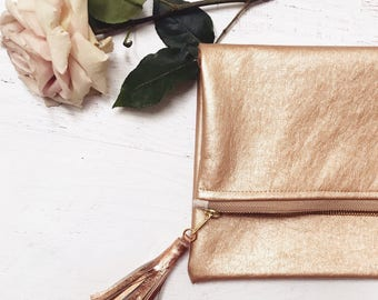 Vegan Metallic Rose Gold Leather Foldover Clutch - Gift for her, Birthday, Anniversary, Bridesmaid