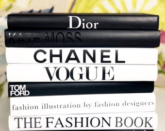 8 BOOKS - Black/White/Grey, Designer Book Set, Coco Chanel, Tom Ford, Louis Vuitton, Hermes, Vogue, Dior, The Fashion Book, Fashion Home