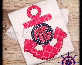 Girl's Anchor with Monogram Shirt, Anchor Applique Shirt