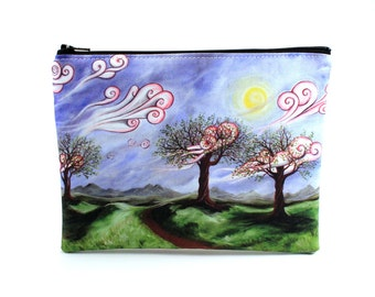 Defiant Beauty - Zipper Pouch - Surreal Landscape with Whimsical Trees and Swirling Clouds - Art by Marcia Furman