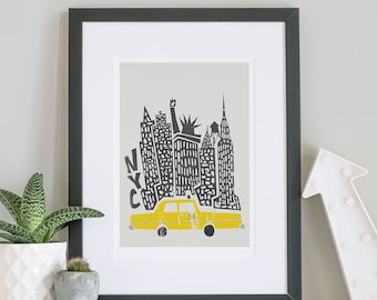New York City Print, New York Print, World Travel, Husband Gift, Wife Wedding Gift, Statue of Liberty, Retro Travel Art Poster, NYC Skyline