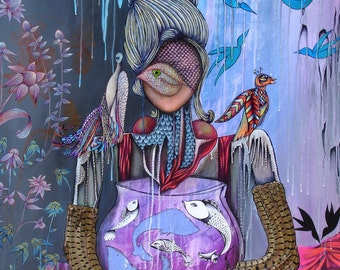 """Woman with birds and fish bowl, Whimsical Bird Art, Pheasant Feathers, Colorful birds, Pink and blue flowers, birdcage, 11 x 14"""", 16 x 20"""""""