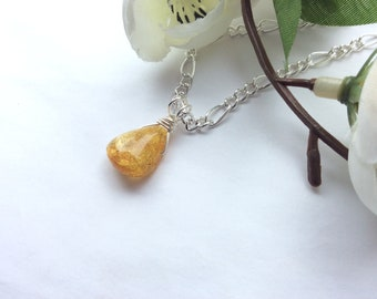 Baltic Yellow Amber Necklace Pendant 925 sterling silver or silver plated lemon amber Neolithic gemstone gift her birthday Mothers Day