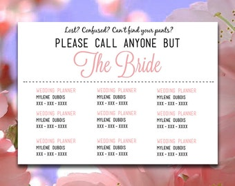 "DIY Wedding Information Card Template ""Please Call Anyone But the Bride"" Card - Blush Pink Wedding Printable Wedding Contact Card"