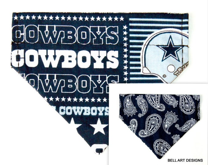 DALLAS COWBOYS and Paisley ~ Over the Collar ~ Reversible ~ Dog Pet Bandana ~ Bell Art Designs ~ Extra Small ~ DCXS0379
