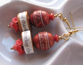 Carved Cinnabar and text earrings, attitude, joy, thankful