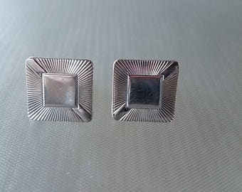 Vintage Silver Tone Square Starburst Cuff links