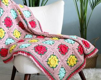 Crochet flower blanket, Crochet pink blanket, Crochet rose blanket, Colorful granny, Throw blanket boho, crochet blanket, colorful blanket