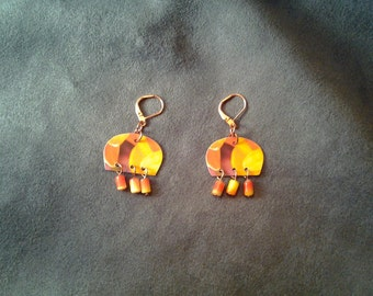 Guitar Pick  Earrings - Abstract - Orange & Yellow