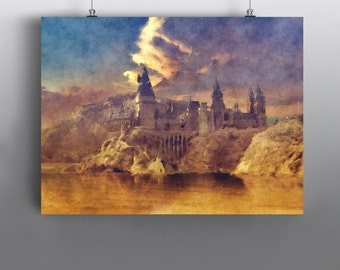 Hogwarts School of Witchcraft and Wizardry - Harry Potter Mixed Media Painting, Draco Dormiens Nunquam Titillandus, Art Poster No122
