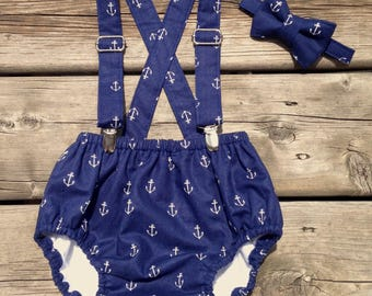 Baby Boy Nautical Diaper Cover Set, Baby boy Bloomer, Diaper Cover - 3pc. Diaper Cover, Suspenders or Neck Tie.