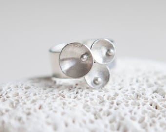 Wide Silver Ring - Circle Statement Ring - Sterling Silver Jewellery Gift For Her
