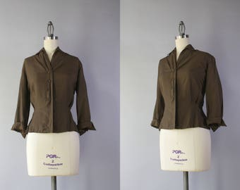 1950s Silk Blouse / Vintage 50s Silk Suburbia Blouse / 1950s Fitted Silk Blouse M medium M/L