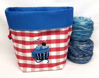 Knitting Bag / Project Bag / Large Pouch, Knitting Project Bag, Cup Cake, Size M