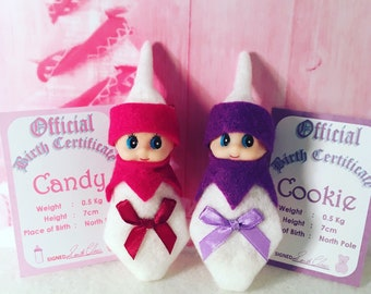 Baby Elf Doll Candy and Cookie The Shelf Sitters Twins