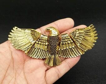 Eagle pendant etsy huge eagle pendant antique gold color vintage style flying eagle jewelry gothic punk boho gypsy hippie aloadofball Images