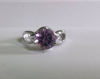 Sterling Silver Amethyst Ring, Amethyst  Solitaire Ring, February Birthstone Ring