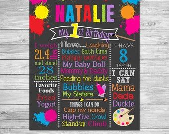 Paint Birthday Chalkboard Printable, Artist Birthday Chalkboard, Art Party First Birthday Chalkboard Sign, Painting Birthday Party