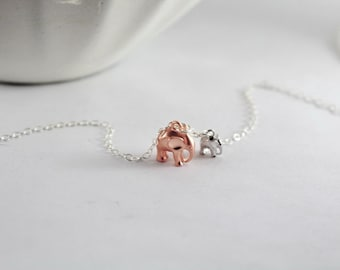 Mother son necklace,Gift from Son,Rose gold elephant.Mother child Necklace, larger eleephant, small babe elephant necklace, mommy jewelry,